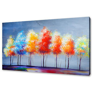 COLOURFUL RAINBOW TREES OIL PAINITNG STYLE CANVAS PRINT WALL ART PICTURE
