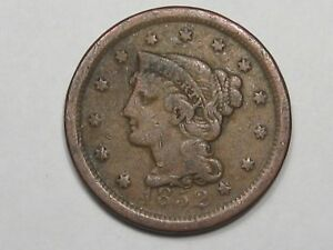 1852 Silver US Braided Hair Large Cent.  #15