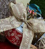 1m x 50mm NATURAL HESSIAN LOOK WIRED,GOLD SPARKLY EDGE CHRISTMAS MESSAGE RIBBON