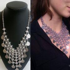 Vintage Boho Gypsy Festival Turkish Coin Collar Bib Choker Statement Necklace
