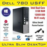 Small Desktop PC DELL Optiplex 780 USFF Dual Core 8GB RAM 120GB SSD Win-10 Wi Fi