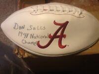 Don Salls Signed Alabama Crimson Tide Football 1941 National Champs Inscribed!