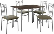 Cappuccino / Silver Metal 5Pcs Dining Set