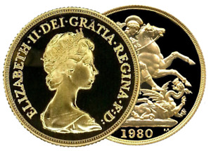 1980 Queen Elizabeth II Proof Gold Sovereign + Capsulated within Luxury Case