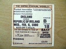 Tickets/ Stubs- 1980 ENGLAND v REPUBLIC OF IRELAND, 6 Feb(European Championship)