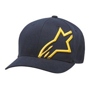 Alpinestars Corp Shift 2 Flex Fit Casual Baseball Hat Cap Navy Gold
