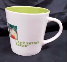 Starbucks Cafe Estima Multi Region Blend 16 Oz White Lime Green Coffee Mug