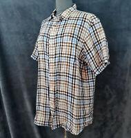 Cremieux Linen Brown Blue Beige Button-Front Short-Sleeve Collared Shirt Men's L