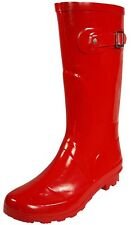 Womens Rain Boots Rubber Solid Color Mid Height Wellies Mid Calf Snow Rainboot