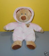 "11"" Ty Pluffies Collection Baby Pink Bear Hooded Pajamas Stuffed Plush Animal"