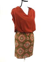 Anthropologie Judith March Orange Dress Sz Small Boutique Green Mod Geometric