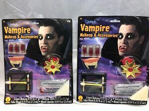 Rubie's Vampire Makeup Set & Accessories Halloween Fake Blood & Teeth 2 Pack