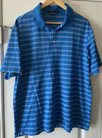 Nike Tiger Woods Collection Mens Blue Golfing Short Sleeve Polo Large Dri Fit