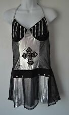 Forplay, Gothic, Outfit, Netting/Chains, Armbands, Scarf, M/L, Black/Silver