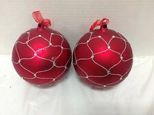 4 Frontgate Red Silver Ball Glitter Sphere Christmas Holiday Ornaments Glass