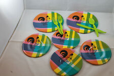 Vintage toy Plates Roosters lot of 6  Cute plaid with Roosters 1960's