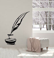 Vinyl Wall Decal Writer Bird Pen Ink Feather Books Library Stickers (2706ig)