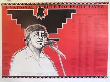 Cesar Chavez | A National Tribute | Orig. 1970s Tour Poster | Art by Eastero