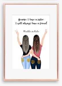 A4 Best Friend BFF Wall Print/Sign Unique Gift Personalised Keepsake Sister