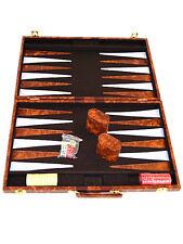 "Classic 18"" Brown & White Backgammon Set"