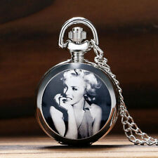 Marilyn Monroe Chain Necklace Fashion Women Quartz Pocket Watch Lady Sweet Gifts