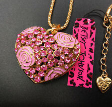 Betsey Johnson Pink Crystal Rose Heart Gold Pendant Chain Necklace Free Gift Bag