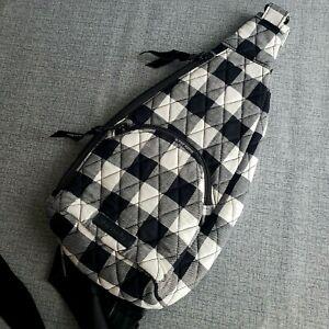 NWT Vera Bradley ESSENTIAL COMPACT SLING Black White PEARL BUFFALO PLAID Bag
