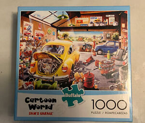 Buffalo Cartoon World Sam's Garage Car Puzzle 1000 Piece Complete With Poster