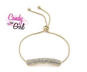 Crystal Diamante Sparkling Zircon Bar Bracelet in Gold or Silver