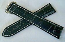 BLACK & WHITE LEATHER STRAP & DEPLOY CLASP 20mm for OMEGA DIVER and DE-VILLE