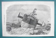 1858 Woodcut Engraving - Steamship Parametta Launch at Blackwell England
