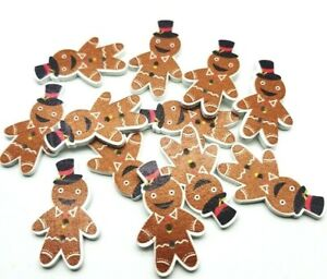 30 WOODEN GINGERBREAD MEN CHRISTMAS BUTTONS - CARDMAKING - XMAS-BUY 5 GET 1 FREE