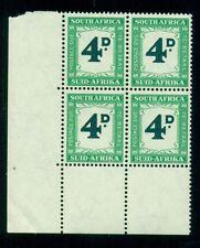 SOUTH AFRICA #J43 Postage Due, Margin Block of 4, og, NH, VF, Scott $58.00