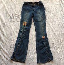 Gasoline Women's Juniors Jeans Low Rise Dark Wash Long Boot Cut Retro Size 5