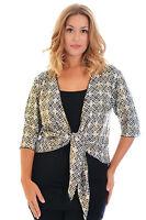New Womens Shrug Ladies Plus Size Gold Foil Aztec Cardigan Jacket Open Nouvelle
