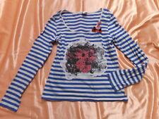 Vero Moda Streifen Langarm Shirt Top Oberteil Applikation Patch 60er Look S