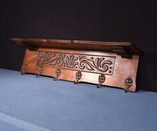 "*40"" Vintage French Oak Coat Rack Hall Tree Wood Shelf with Brass Hooks"