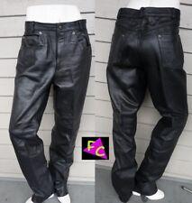 Vtg 80s Leather Wilsons Mens Motorcycle Pants Glam Metal Fetish 36 Long Black