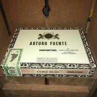 Arturo Fuente Curly Head Deluxe Empty Wooden Cigar Box 9.5x7x2