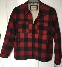 Levi's Men's Small Jacket Red Black Buffalo Plaid Wool Blend Water Resistant New