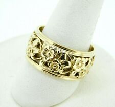 14k Yellow Gold Ring Band with Floral Pierced Design (#J4422)