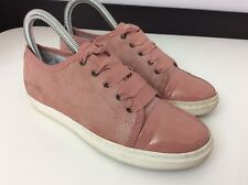 LANVIN Pink Suede Leather Shoes Sneakers Pumps Size 34 Uk 2 Patent Toes