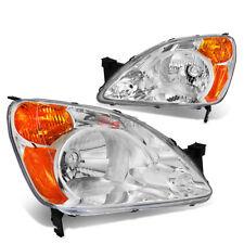 FOR 02-04 HONDA CR-V SUV LEFT+RIGHT CHROME HOUSING AMBER CORNER HEADLIGHTS PAIR