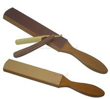 Razor Edge Cut Throat Straight Razor &  Wooden Leather Strop Sharpening Hobby