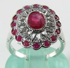 LARGE 9K CT WHITE GOLD INDIAN RUBY & DIAMOND RING FREE RESIZE