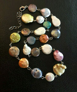 """Freshwater Pearl Necklace COIN Multi Color 11-14mm FALL COLORS Adjust"""" #1659"""
