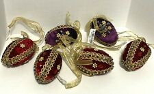 6 Vintage J. C. Penny Red/ Purple Velvet Beaded W/ Trim Christmas Ornament Set