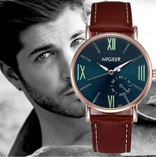 Men's: Contemporary Watch with Jade Face, Lime Numerals & Brown Leather Stap