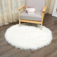 Fluffy Round Rug Artificial Faux Fur Floor Carpet Home Decor For Bedroom Kids
