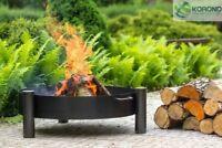 Korono Feuerschale aus schwarzem Stahl Ø 60-70-80cm mit 3 Beinen, Hand Made